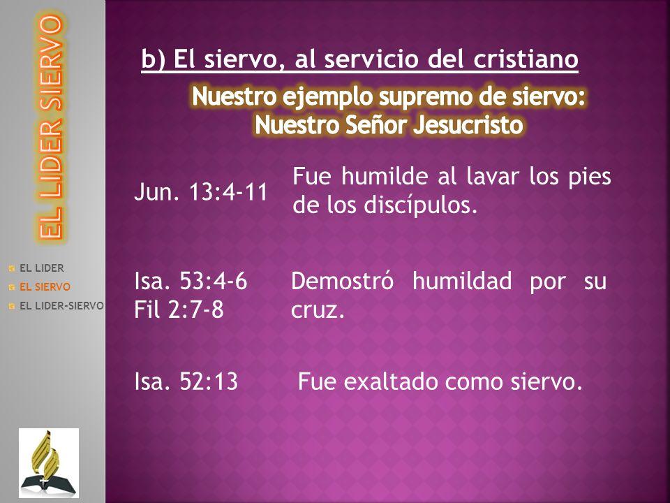 EL LIDER SIERVO b) El siervo, al servicio del cristiano