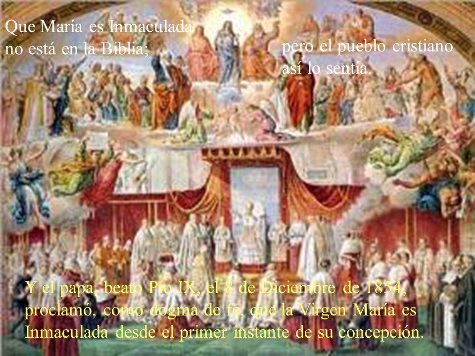 Que María es Inmaculada no está en la Biblia;