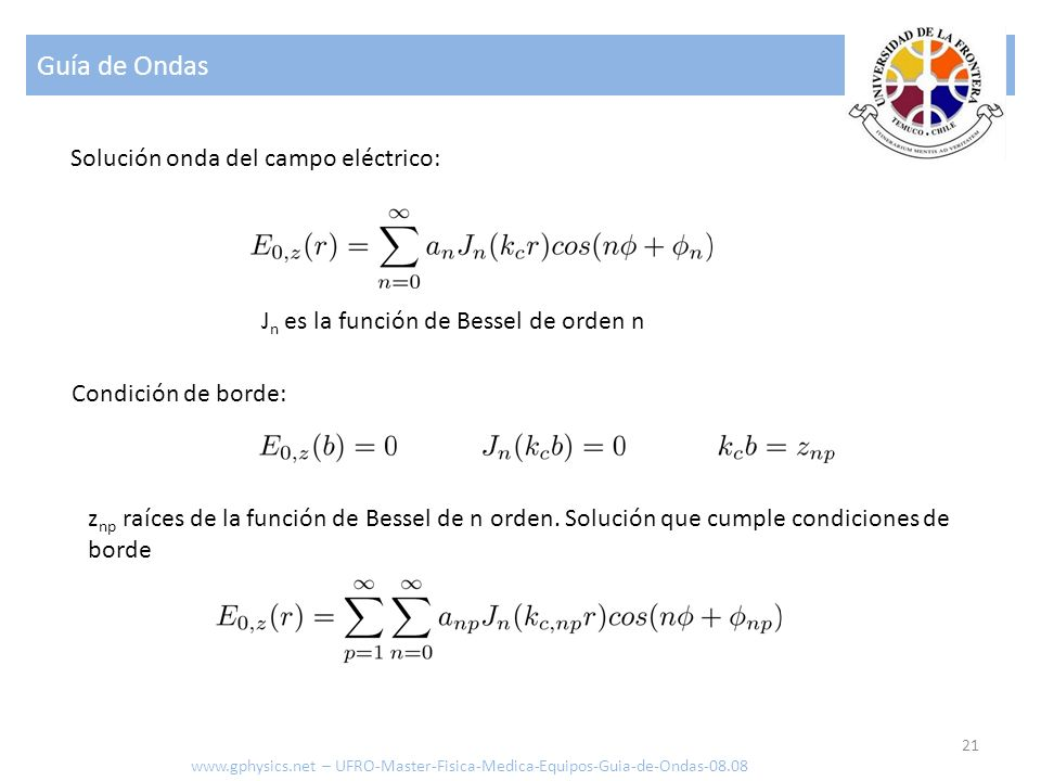 Guía de Ondas Solución onda del campo eléctrico: