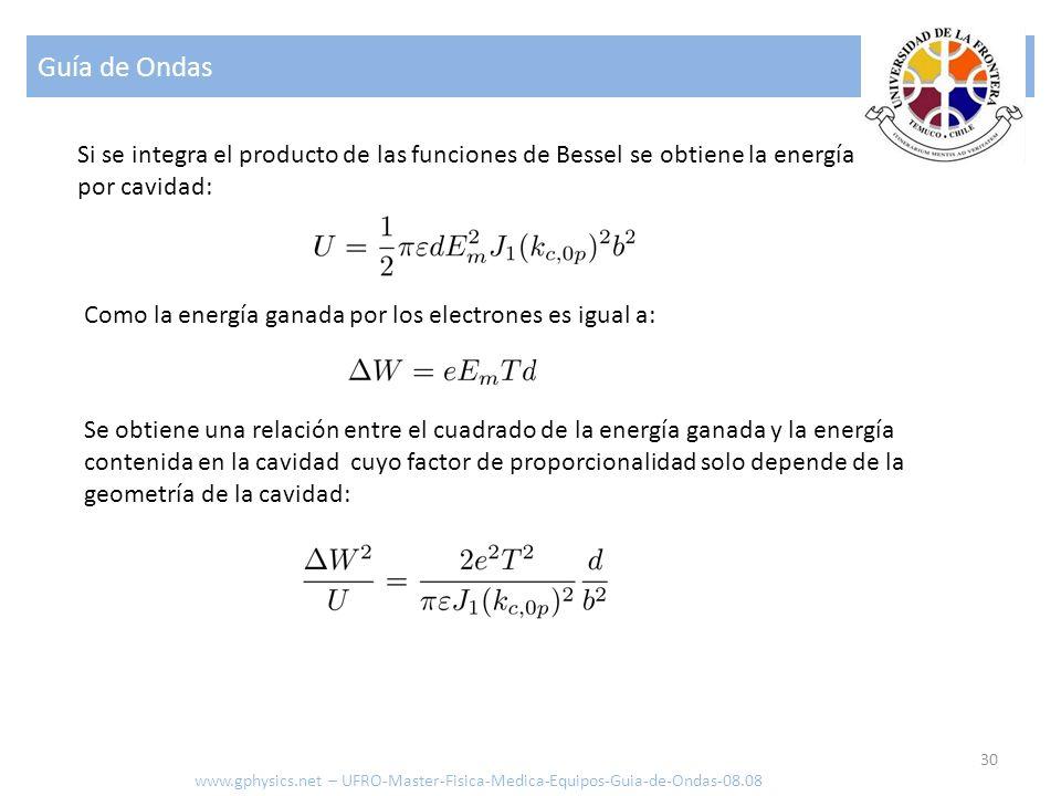 Guía de Ondas Si se integra el producto de las funciones de Bessel se obtiene la energía por cavidad: