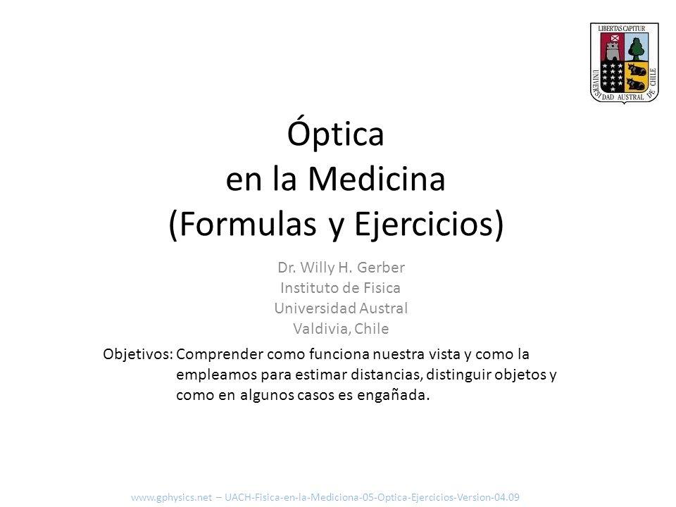 Óptica en la Medicina (Formulas y Ejercicios)