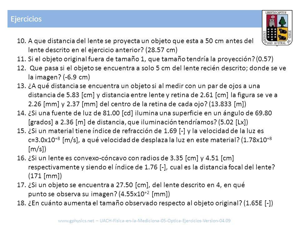 Ejercicios A que distancia del lente se proyecta un objeto que esta a 50 cm antes del lente descrito en el ejercicio anterior (28.57 cm)