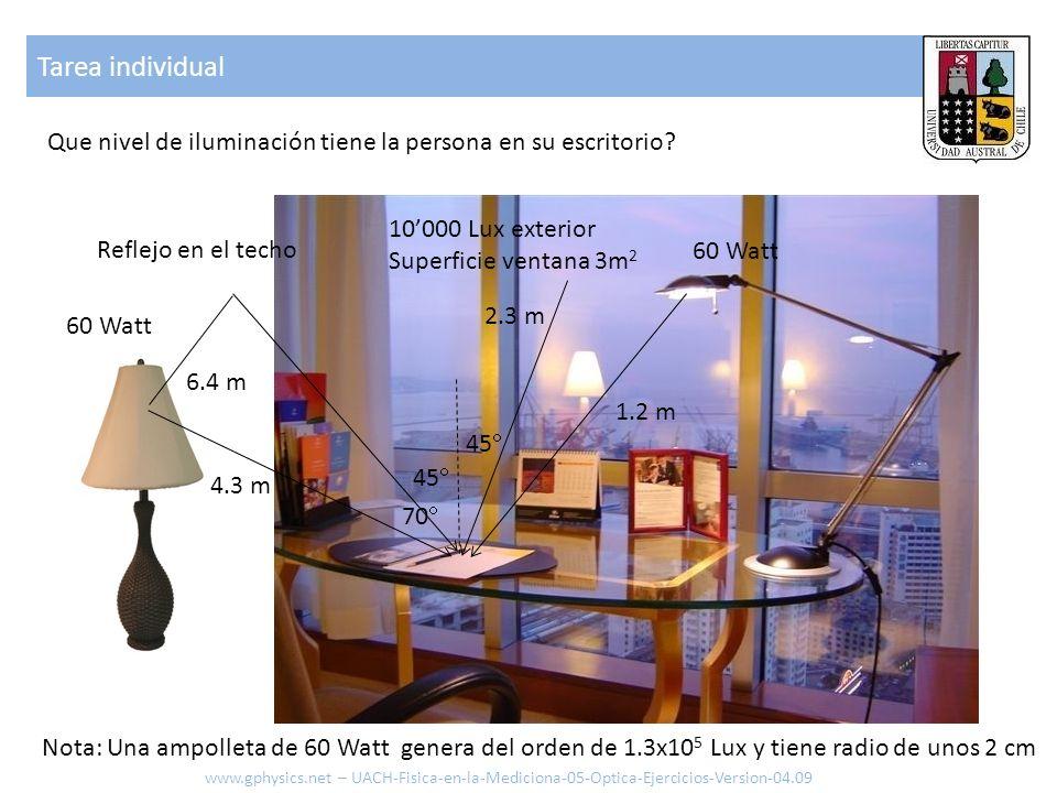 Tarea individual Que nivel de iluminación tiene la persona en su escritorio 10'000 Lux exterior. Superficie ventana 3m2.