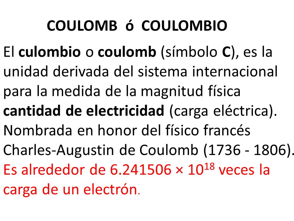 COULOMB ó COULOMBIO