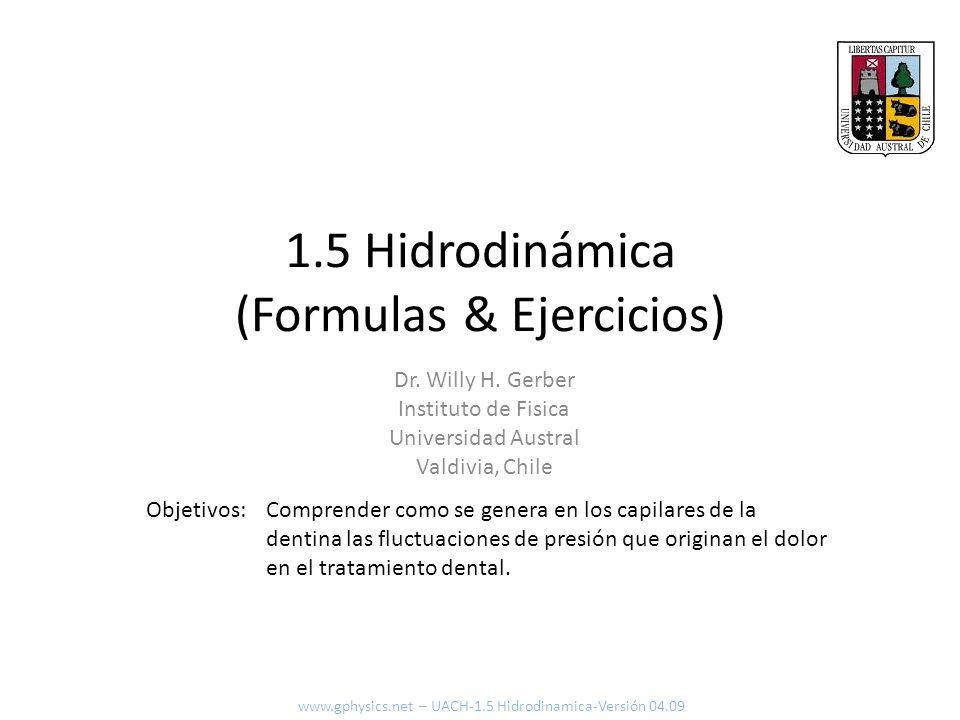 1.5 Hidrodinámica (Formulas & Ejercicios)