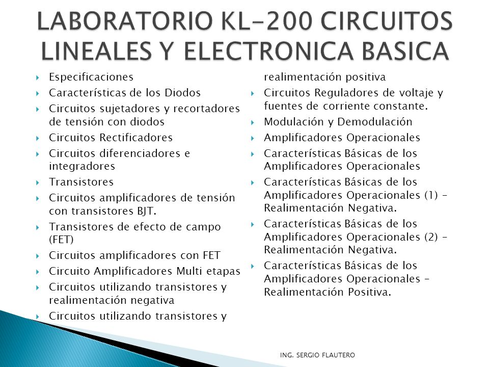 LABORATORIO KL-200 CIRCUITOS LINEALES Y ELECTRONICA BASICA