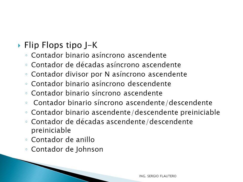Flip Flops tipo J-K Contador binario asíncrono ascendente