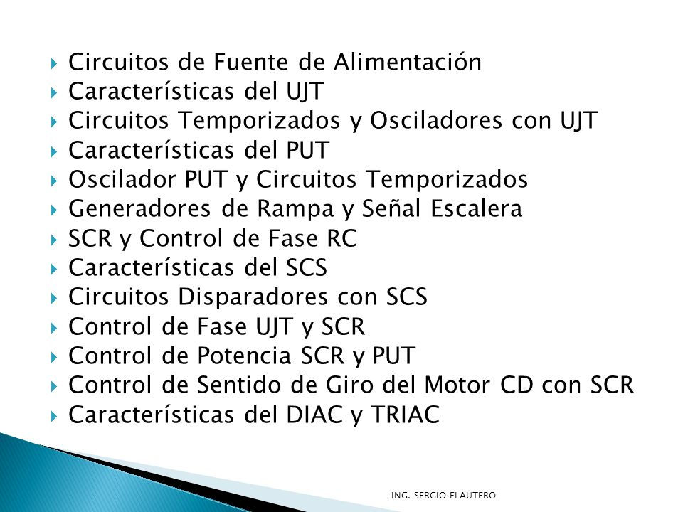 Circuitos de Fuente de Alimentación Características del UJT