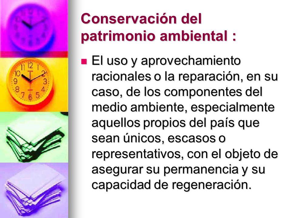 Conservación del patrimonio ambiental :