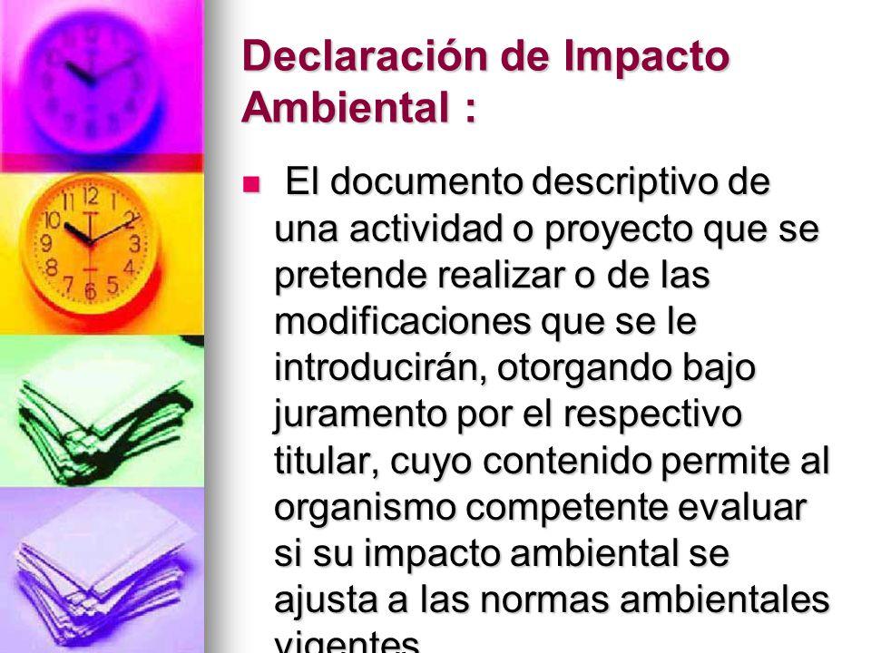 Declaración de Impacto Ambiental :
