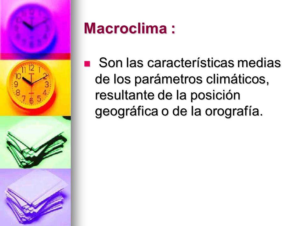 Macroclima : Son las características medias de los parámetros climáticos, resultante de la posición geográfica o de la orografía.