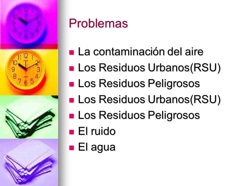 Problemas La contaminación del aire Los Residuos Urbanos(RSU)