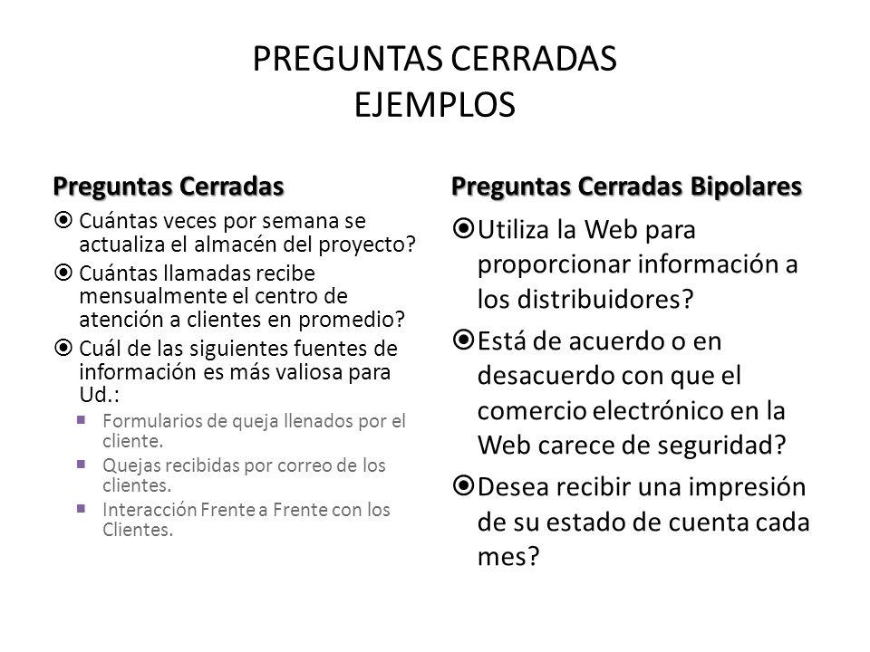 PREGUNTAS CERRADAS EJEMPLOS