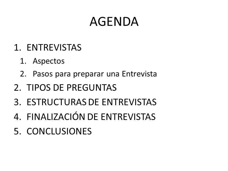 AGENDA ENTREVISTAS TIPOS DE PREGUNTAS ESTRUCTURAS DE ENTREVISTAS