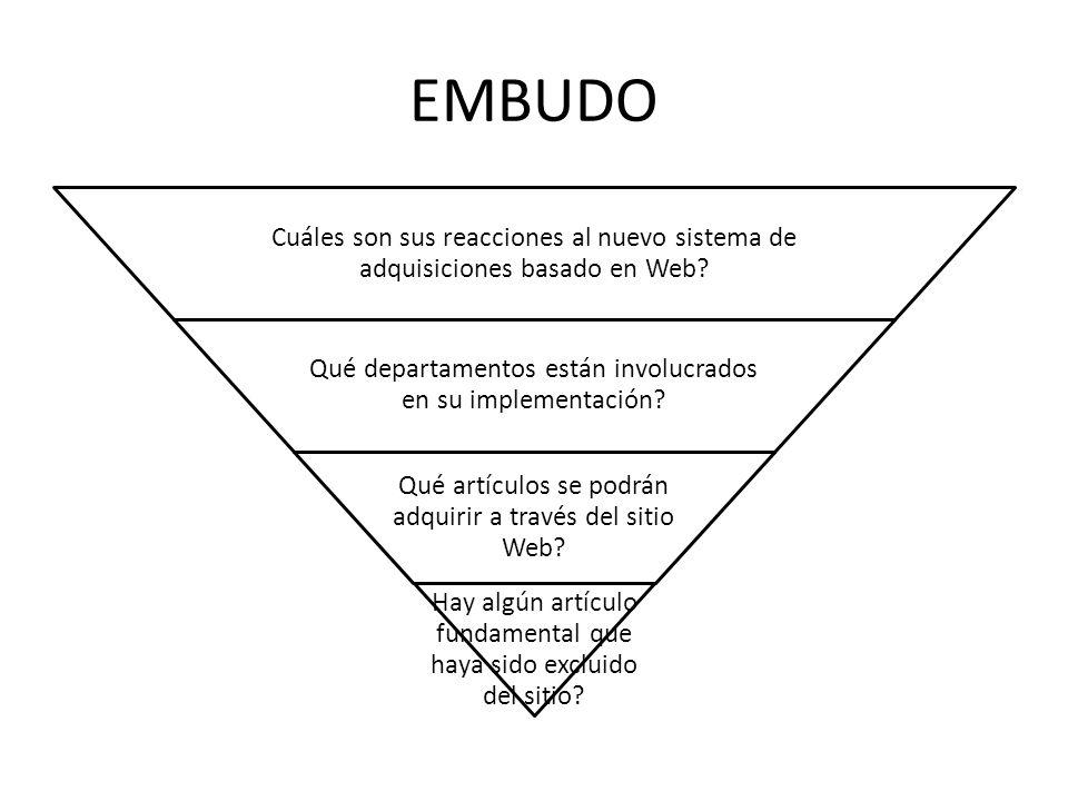 EMBUDO Cuáles son sus reacciones al nuevo sistema de adquisiciones basado en Web Qué departamentos están involucrados en su implementación