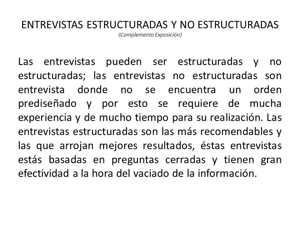 ENTREVISTAS ESTRUCTURADAS Y NO ESTRUCTURADAS (Complemento Exposición)