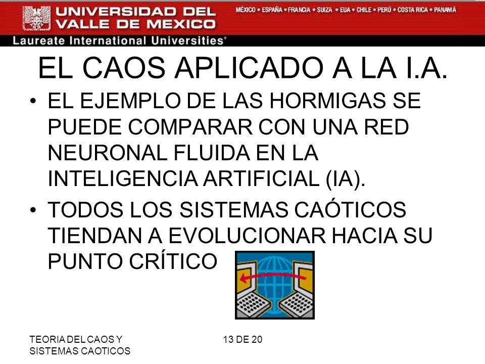 EL CAOS APLICADO A LA I.A. EL EJEMPLO DE LAS HORMIGAS SE PUEDE COMPARAR CON UNA RED NEURONAL FLUIDA EN LA INTELIGENCIA ARTIFICIAL (IA).