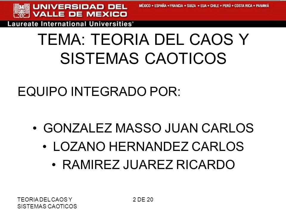 TEMA: TEORIA DEL CAOS Y SISTEMAS CAOTICOS