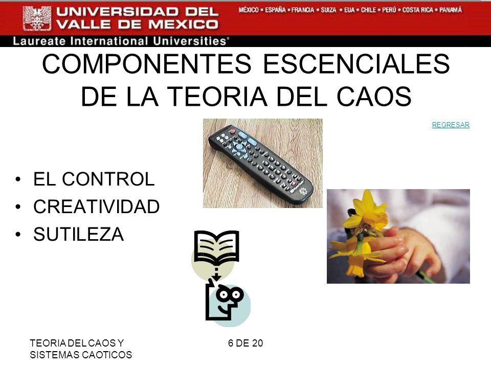 COMPONENTES ESCENCIALES DE LA TEORIA DEL CAOS