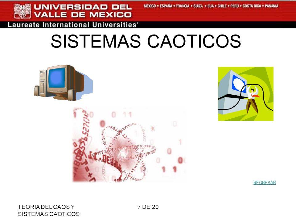 SISTEMAS CAOTICOS REGRESAR TEORIA DEL CAOS Y SISTEMAS CAOTICOS 7 DE 20