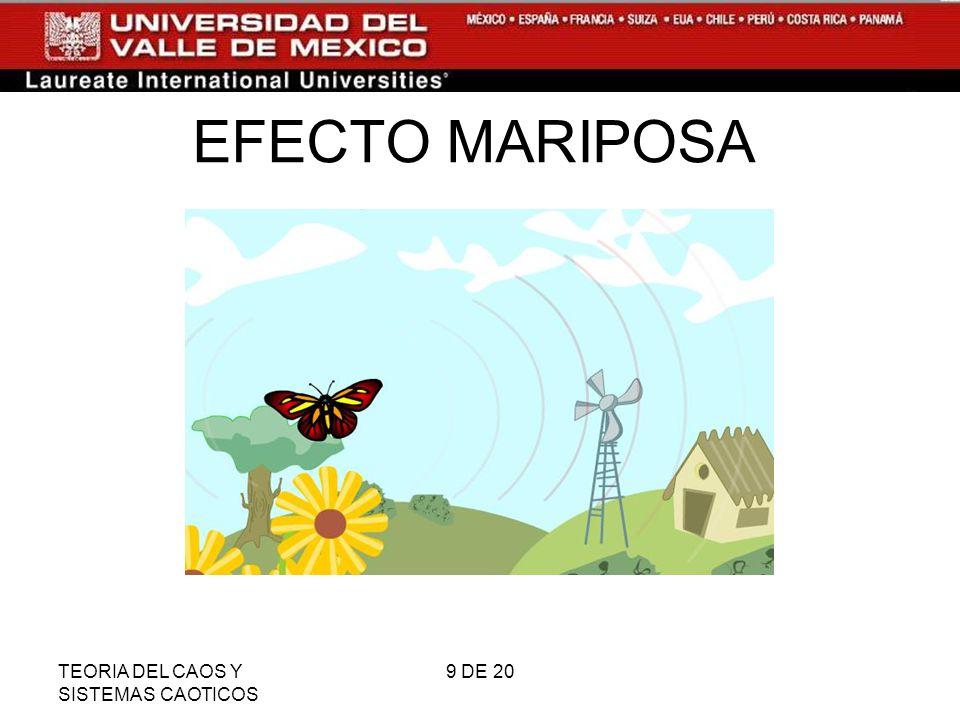 EFECTO MARIPOSA TEORIA DEL CAOS Y SISTEMAS CAOTICOS 9 DE 20