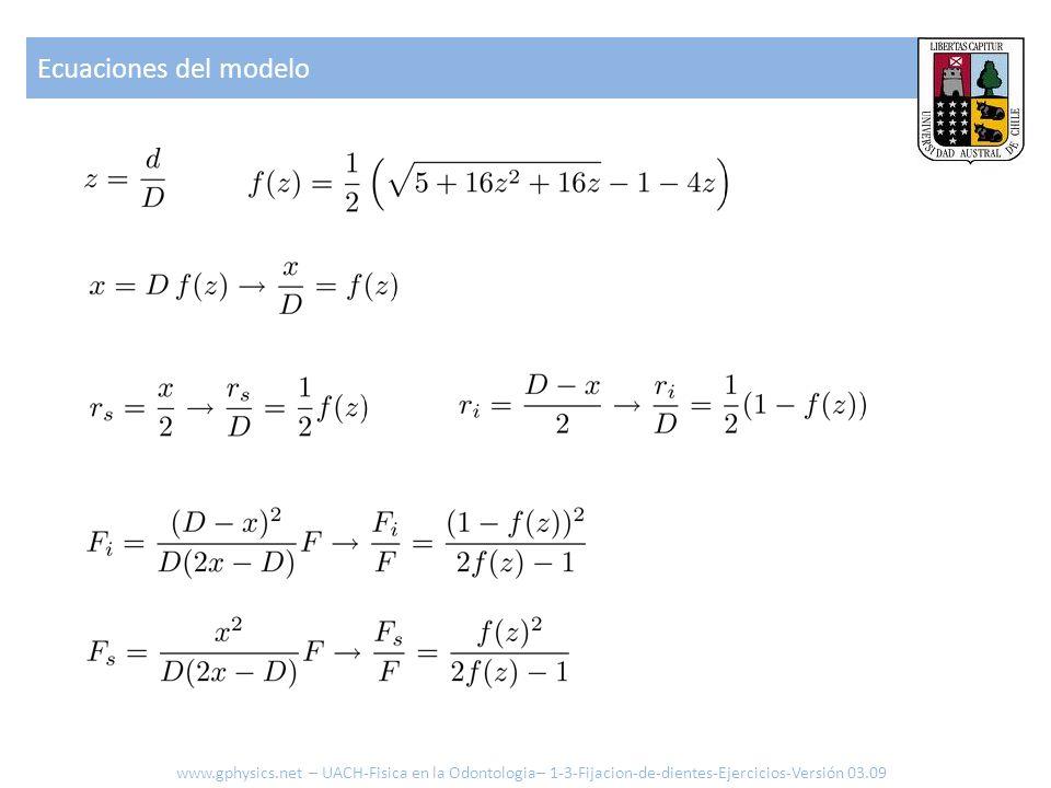 Ecuaciones del modelo www.gphysics.net – UACH-Fisica en la Odontologia– 1-3-Fijacion-de-dientes-Ejercicios-Versión 03.09.