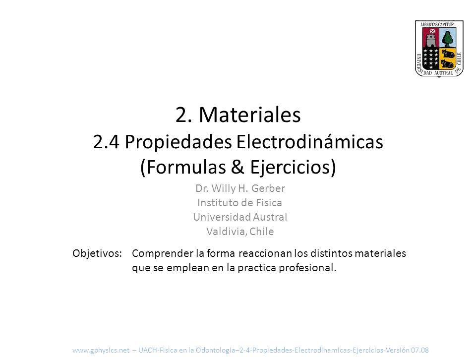 2. Materiales 2.4 Propiedades Electrodinámicas (Formulas & Ejercicios)