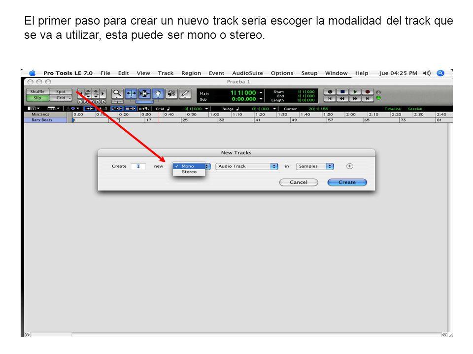 El primer paso para crear un nuevo track seria escoger la modalidad del track que