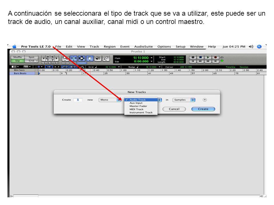 A continuación se seleccionara el tipo de track que se va a utilizar, este puede ser un