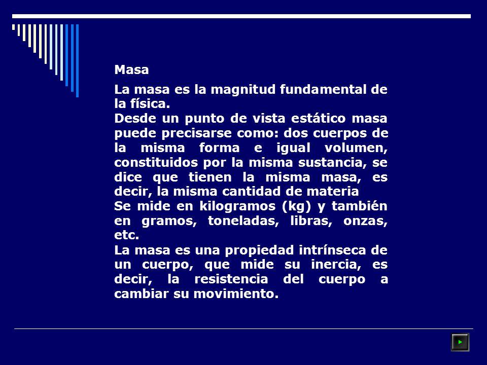 Masa La masa es la magnitud fundamental de la física.