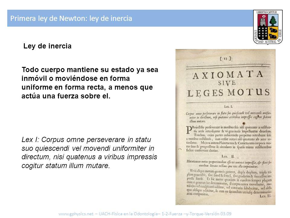 Primera ley de Newton: ley de inercia