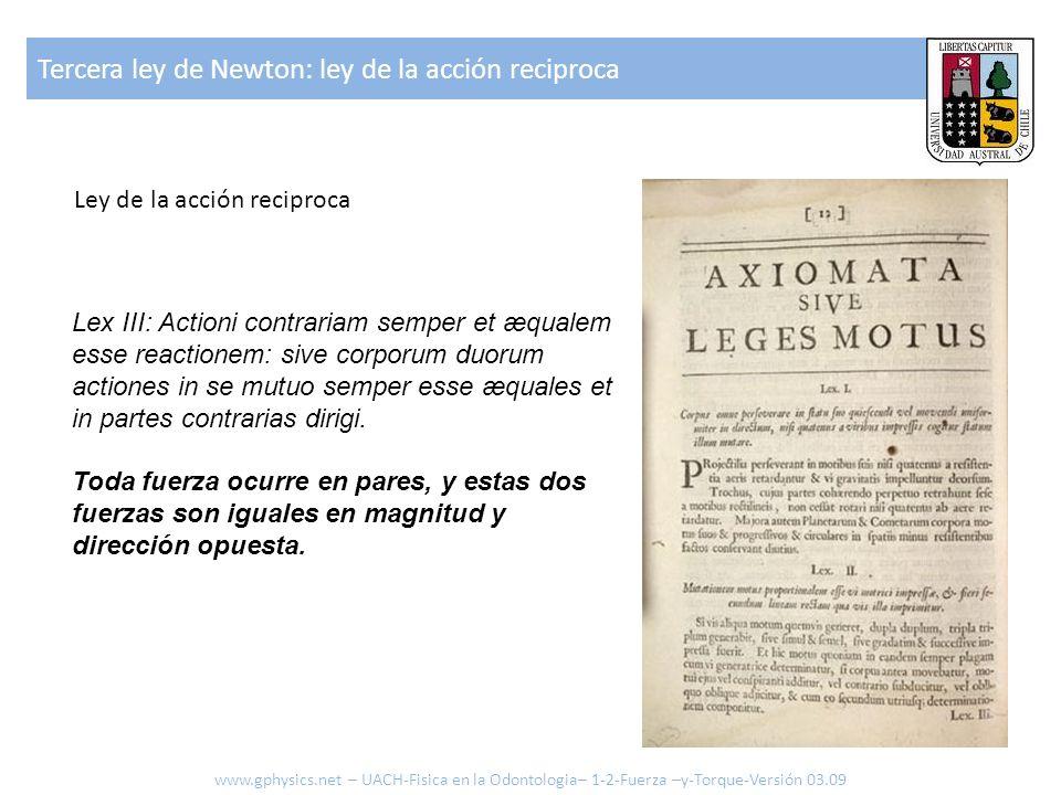 Tercera ley de Newton: ley de la acción reciproca