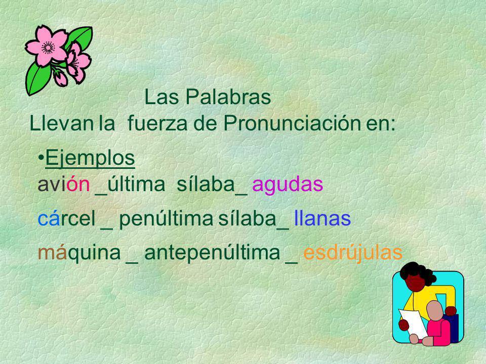 Las Palabras Llevan la fuerza de Pronunciación en: