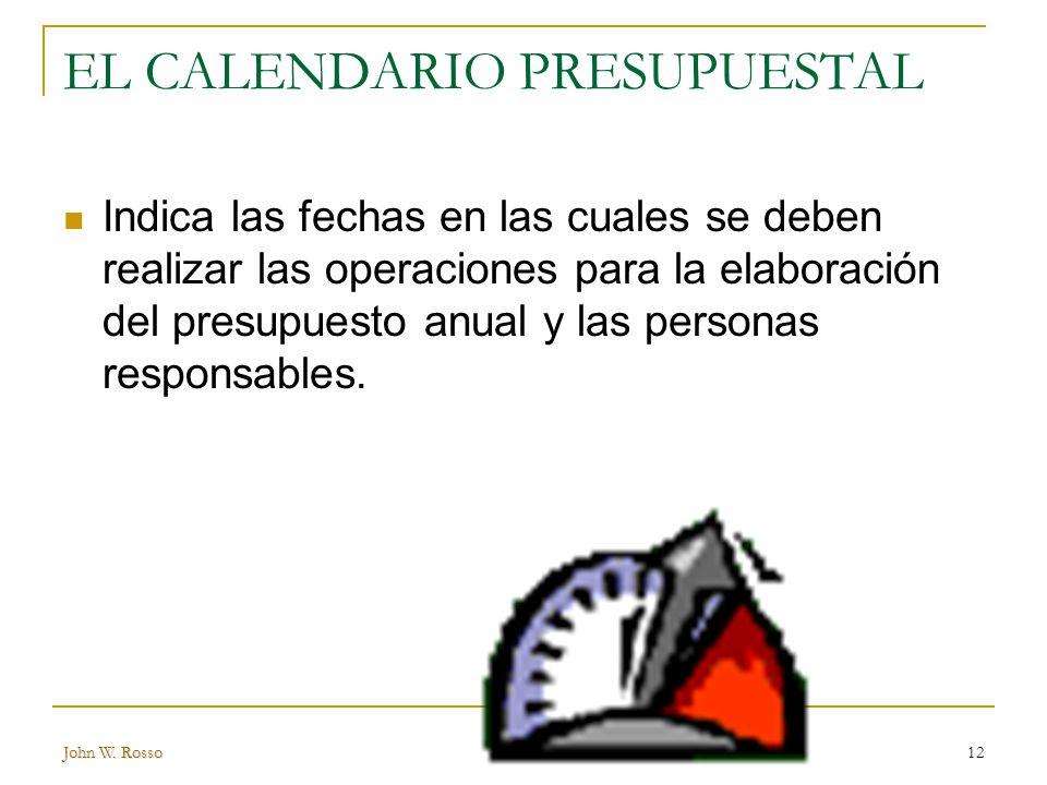 EL CALENDARIO PRESUPUESTAL