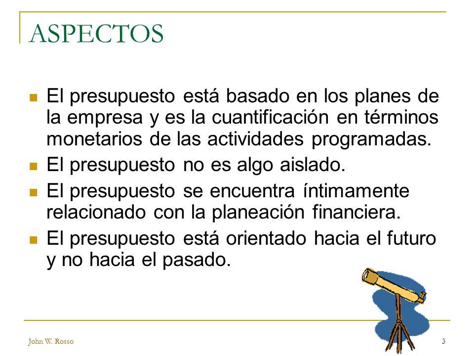 ASPECTOS El presupuesto está basado en los planes de la empresa y es la cuantificación en términos monetarios de las actividades programadas.