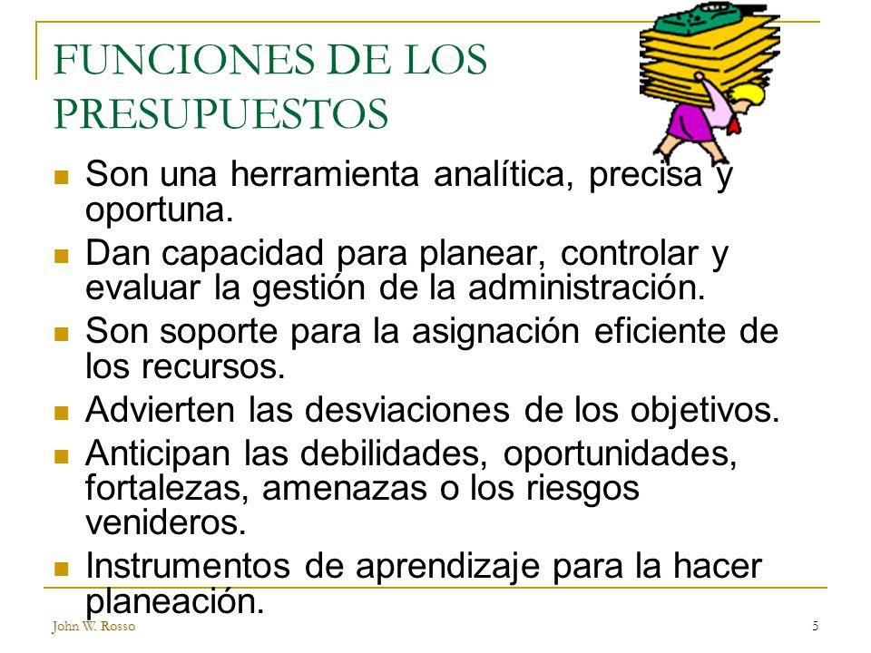 FUNCIONES DE LOS PRESUPUESTOS