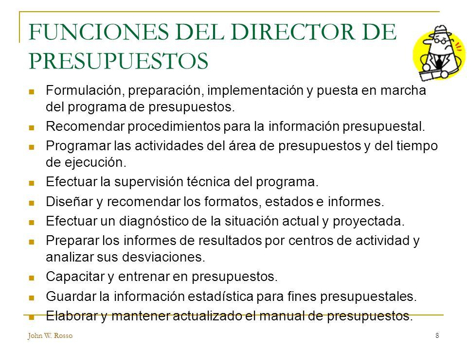 FUNCIONES DEL DIRECTOR DE PRESUPUESTOS
