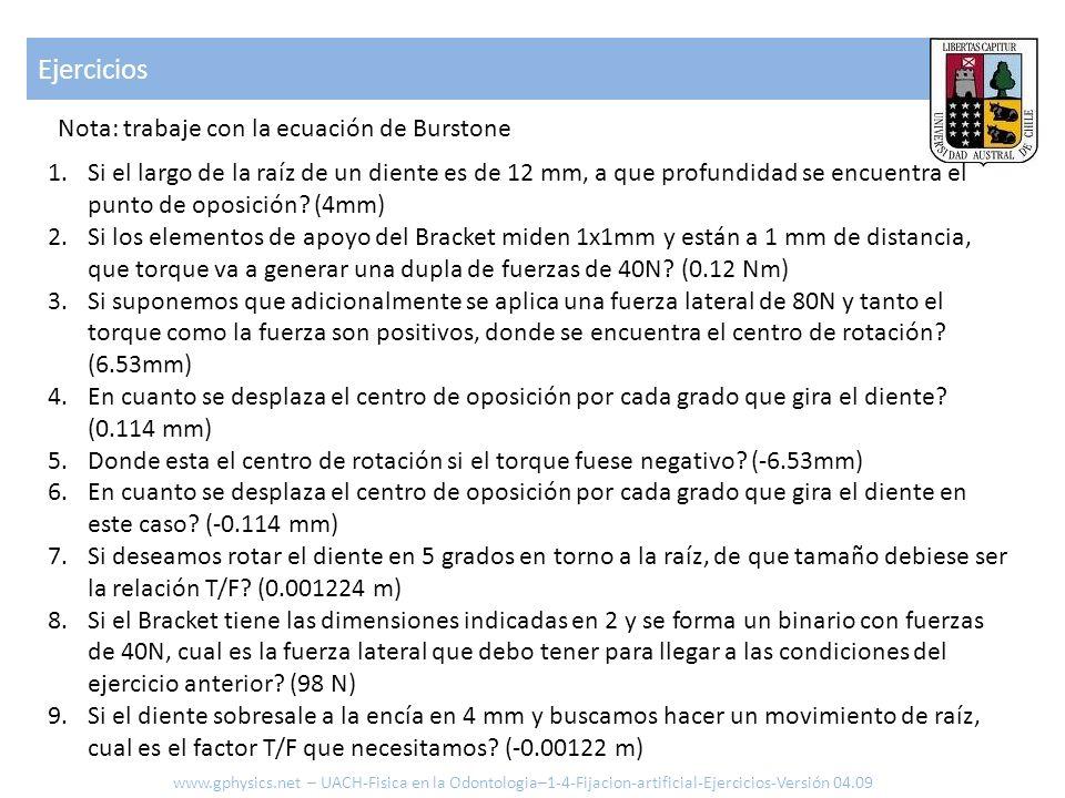 Ejercicios Nota: trabaje con la ecuación de Burstone