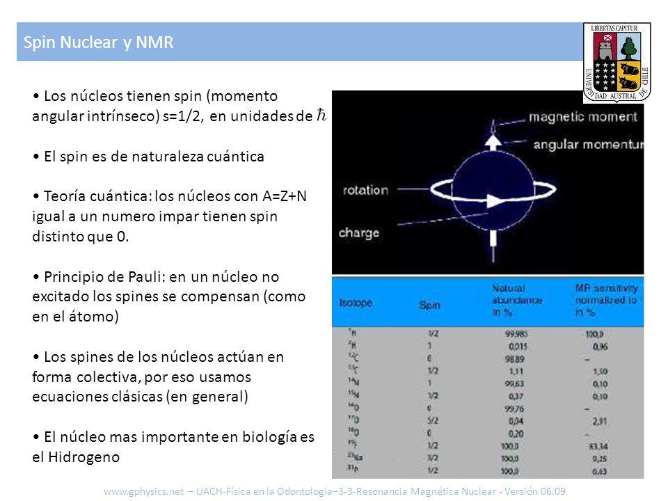 Spin Nuclear y NMR• Los núcleos tienen spin (momento angular intrínseco) s=1/2, en unidades de. • El spin es de naturaleza cuántica.