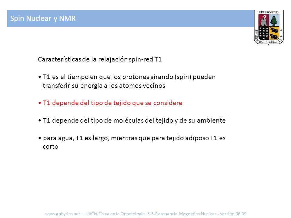 Spin Nuclear y NMR Características de la relajación spin-red T1