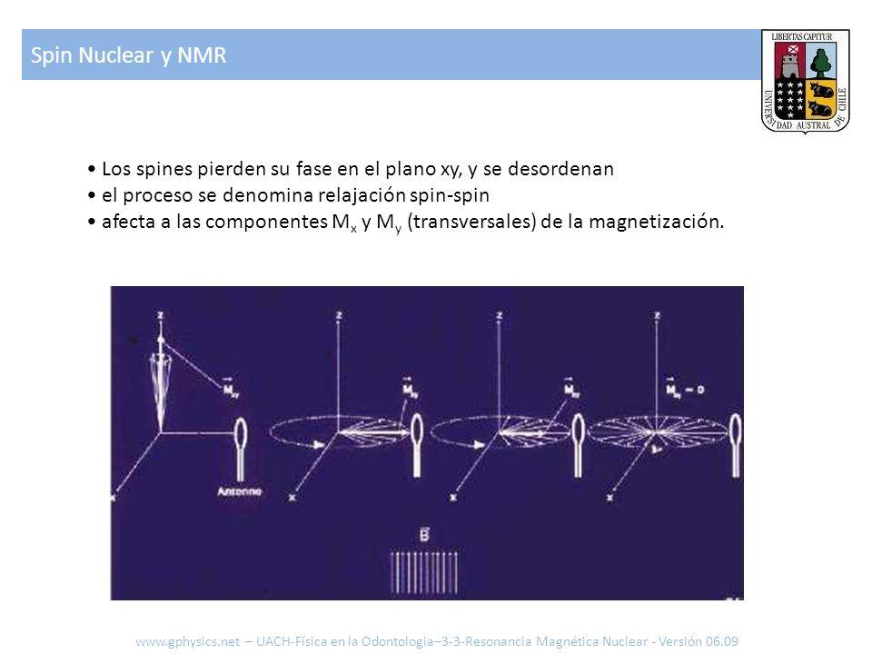 Spin Nuclear y NMR • Los spines pierden su fase en el plano xy, y se desordenan. • el proceso se denomina relajación spin-spin.