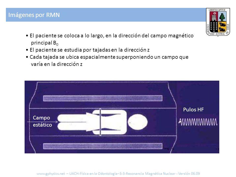 Imágenes por RMN • El paciente se coloca a lo largo, en la dirección del campo magnético principal B0.