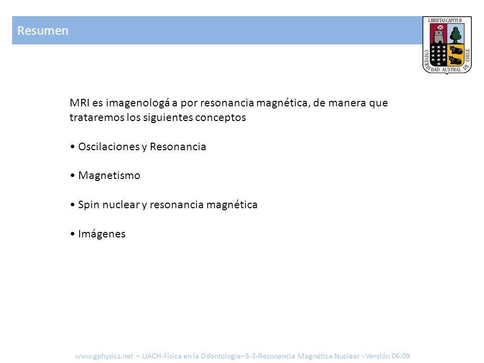 Resumen MRI es imagenologá a por resonancia magnética, de manera que trataremos los siguientes conceptos.
