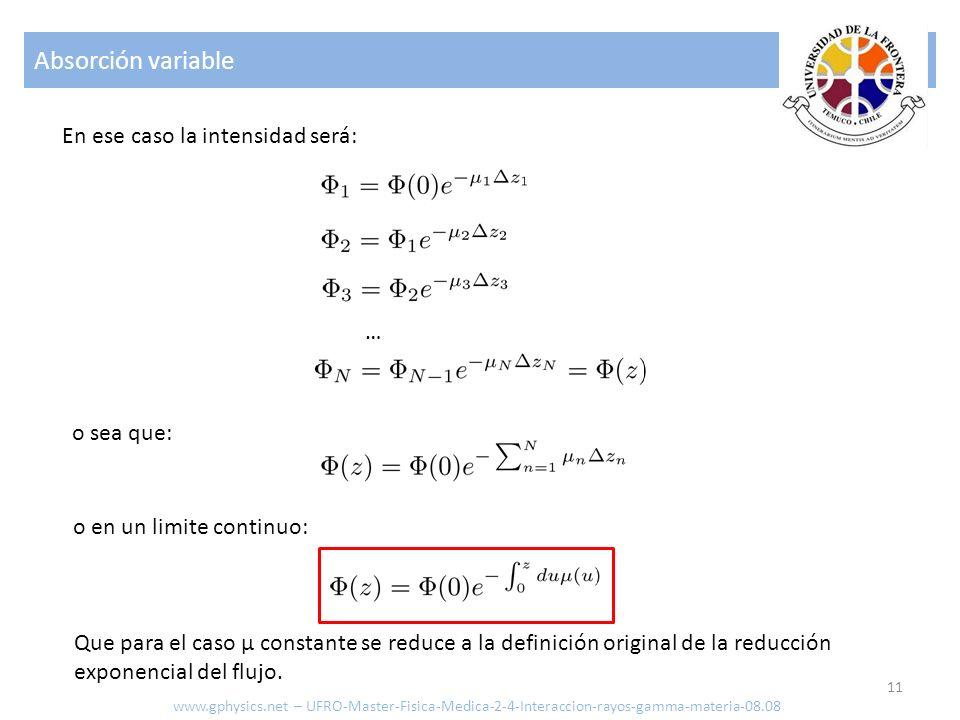 Absorción variable En ese caso la intensidad será: … o sea que: