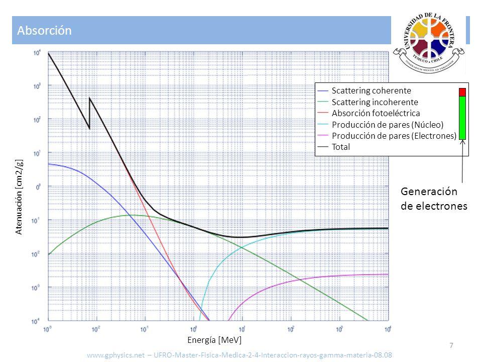 Absorción Generación de electrones Scattering coherente