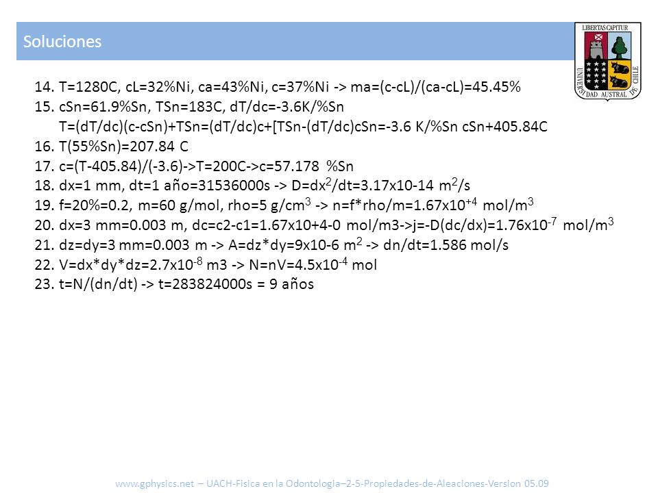 SolucionesT=1280C, cL=32%Ni, ca=43%Ni, c=37%Ni -> ma=(c-cL)/(ca-cL)=45.45%