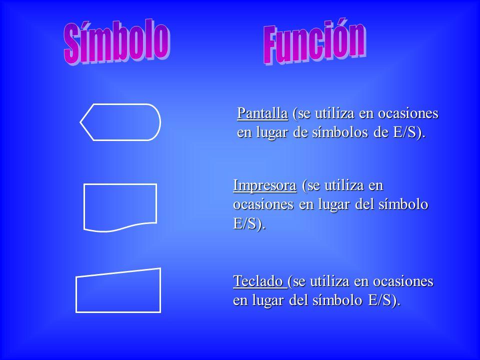 Símbolo Función. Pantalla (se utiliza en ocasiones en lugar de símbolos de E/S). Impresora (se utiliza en ocasiones en lugar del símbolo E/S).