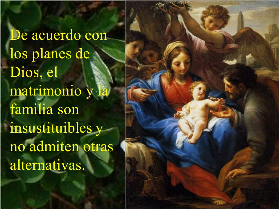 De acuerdo con los planes de Dios, el matrimonio y la familia son insustituibles y no admiten otras alternativas.