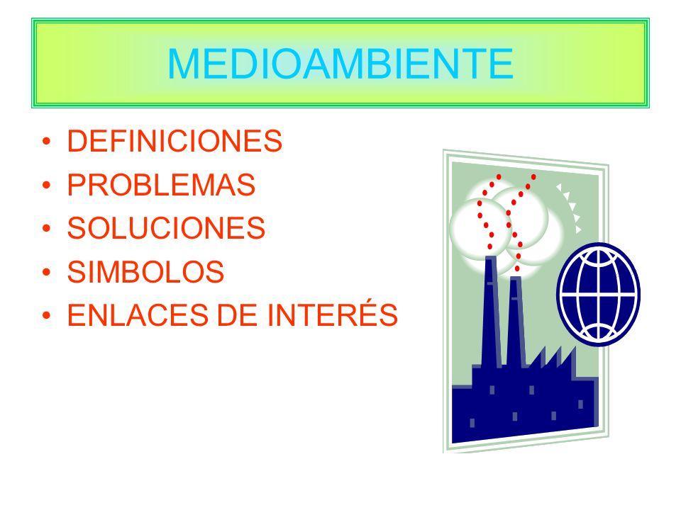 MEDIOAMBIENTE DEFINICIONES PROBLEMAS SOLUCIONES SIMBOLOS