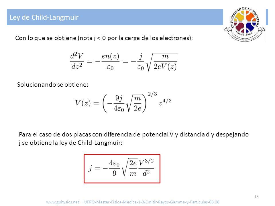 Ley de Child-Langmuir Con lo que se obtiene (nota j < 0 por la carga de los electrones): Solucionando se obtiene: